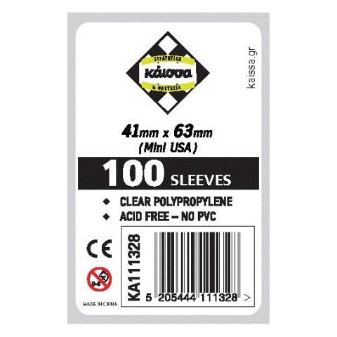 Протектори за карти Kaissa Mini American Board Game Standard Card Sleeves - 41x63мм (100 броя тънки, прозрачни) в Chimera Size (41x63, 43x65 мм)