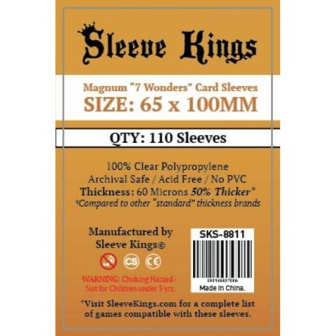 "Протектори за карти Sleeve Kings Magnum ""7 Wonders"" Card Sleeves (65x100mm) 110 Pack, 60 Microns в 7 Wonders, Coup (65x100 мм)"