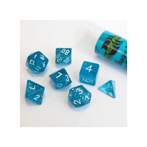Blackfire Dice - 16mm Role Playing Dice Set - Magic Blue