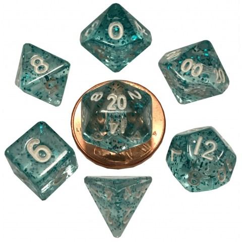 Metallic Dice Games - Ethereal Light Blue (Translucent) 10mm Mini Polyhedral Dice Set