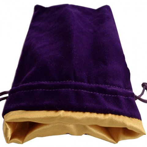 "Velvet Dice Bag - Purple with Gold Satin Lining 4x6"" (10*15cm)"