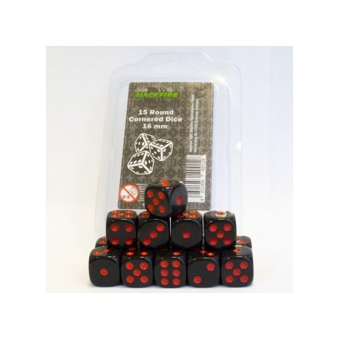 Blackfire Rounded Dice - 16mm D6 Dice Set - Black/Red (15 Dice)