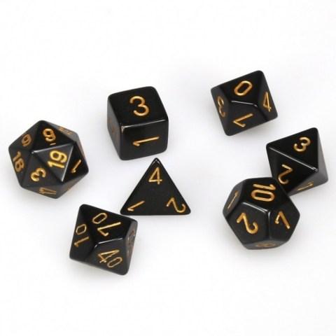 Комплект D&D зарове: Chessex Opaque - Black/Gold
