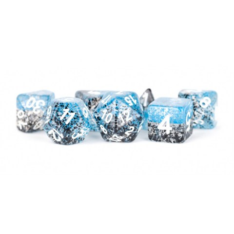 Комплект D&D зарове: Particle Polyhedral Dice Set Blue/Black with White