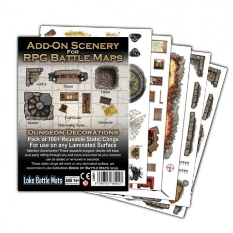Loke Battle Mats: Add-On Scenery for RPG Battle Mats - Dungeon Decorations (5 sheets of 100+ reusable static clings)