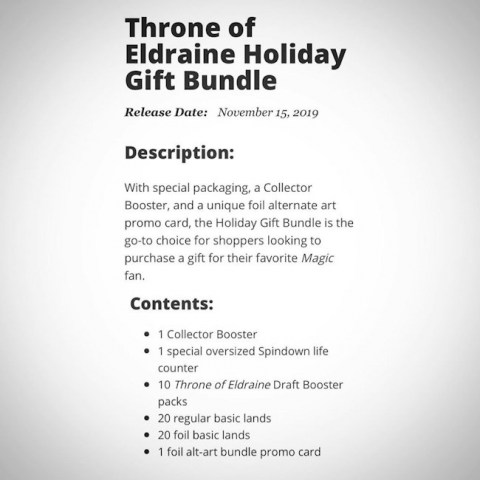 MTG: Throne of Eldraine Holiday Gift Bundle (1 collector's pack + 10 booster packs)