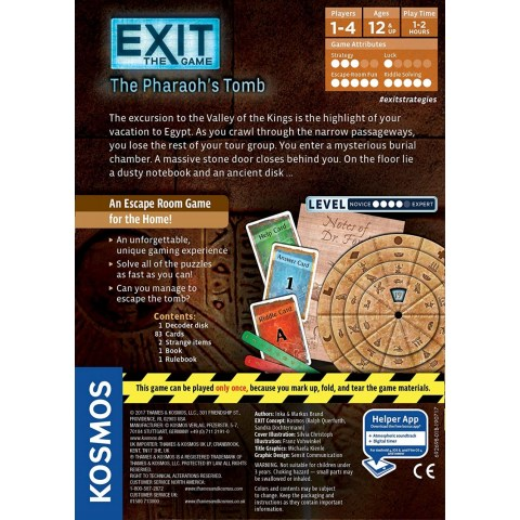 """Exit: The Game - The Pharaoh's Tomb (2016) - """"escape room"""" настолна игра"""
