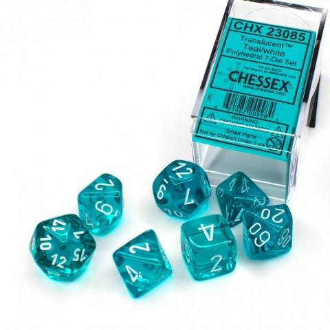 D&D Dice Set: Chessex Translucent Teal/White 7 Dice Set in Dice sets