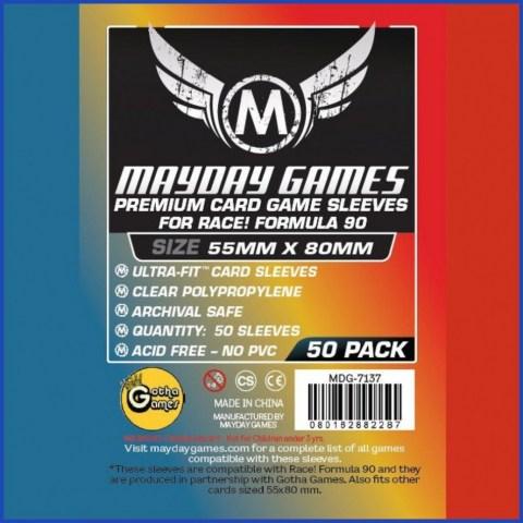 """Протектори за карти 55x80мм Mayday """"Race! Formula 90"""" Premium Card Sleeves - Ultra Fit (50 броя, прозрачни, плътни)"""