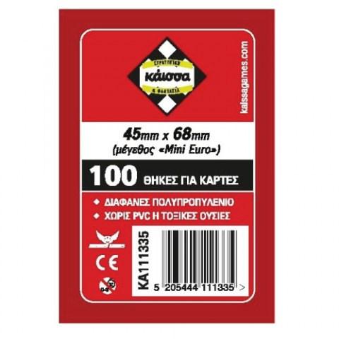 Kaissa Mini European Board Game Standard Card Sleeves - 45x68mm (100 clear sleeves) in Mini European Board Game Size (45x68мм)