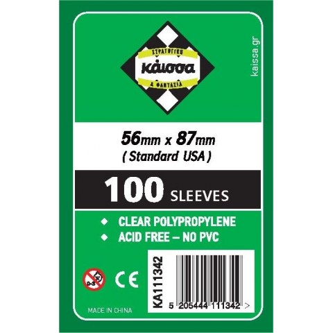 Протектори за карти Kaissa Standard American Standard Card Sleeves - 56x87мм (100 броя тънки, прозрачни) в Standard USA (56x87 мм)