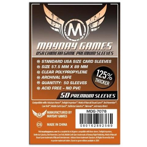 Протектори за карти Mayday 57.5x89мм USA Chimera Game Premium Card Sleeves (50 броя плътни, прозрачни) в USA Chimera (57.0-57.5x89 мм)