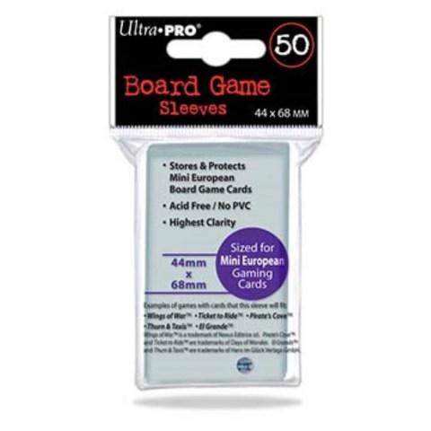 Протектори за карти Ultra Pro Mini European Board Game Premium Card Sleeves - 44x68мм (50 броя плътни, прозрачни)