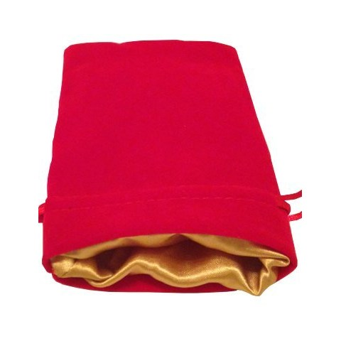 """Velvet Dice Bag - Red with Gold Satin Lining 4x6"""" (10*15cm) in Other accessories"""