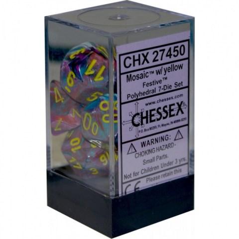 Комплект D&D зарове: Chessex Festive Mosaic & Yellow в Зарове за игри