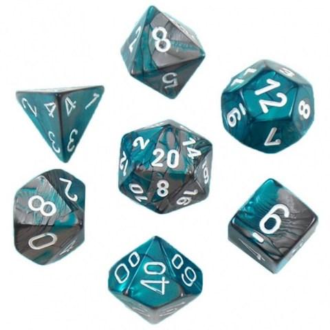 Комплект D&D зарове: Chessex Gemini Steel-Teal & White в Зарове за игри