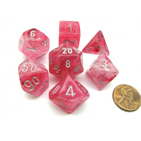 Polyhedral 7-Die Set: Chessex Ghostly Glow Pink & Silver (Glowing) in Dice sets