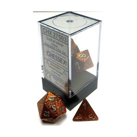 Комплект D&D зарове: Chessex Glitter Gold & Silver в Зарове за игри