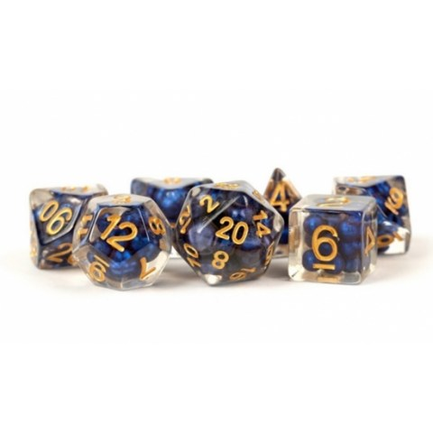 Metallic Dice Games - Resin Pearl Royal Blue w/ Gold Numbers 16mm  Poly Dice Set in Dice sets