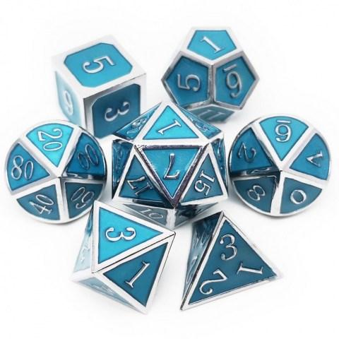 Комплект D&D зарове: Metal & Enamel 7 Dice Set Blue (светещи) в D&D и други RPG / D&D Зарове