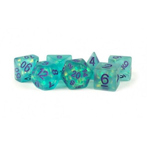Комплект D&D зарове: Metallic Dice Games - Icy Opal Teal with Purple Numbers
