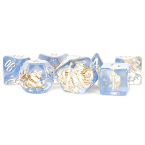 Metallic Dice Games - Sea Conch 16mm Resin Poly Dice Set in D&D Dice Sets