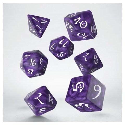 Комплект D&D зарове: Polyhedral 7-Die Set: Q-Workshop Classic RPG (Lavender and White) в D&D и други RPG / D&D Зарове