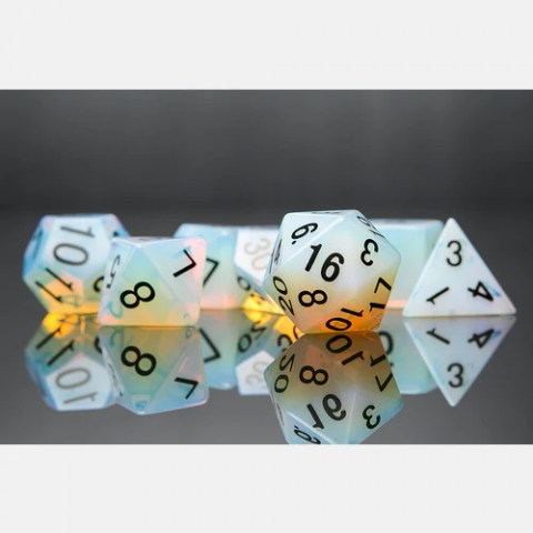 Metallic Dice Games: Opalite Full-Sized 16mm Polyhedral Dice Set