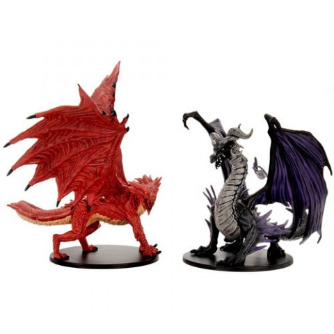 Pathfinder Battles: City of Lost Omens - Adult Red & Black Dragons Premium Set in D&D Miniatures