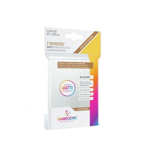Протектори за карти Gamegenic Matte 7 Wonders Sleeves 67x103mm (80 броя, за настолни игри, матови, плътни) в 7 Wonders, Coup (65x100 мм)