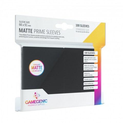 Протектори за карти Gamegenic Matte Prime Sleeves Black 66x91mm (100 броя, матови, черни, плътни) в LCG, 63.5x88 мм)