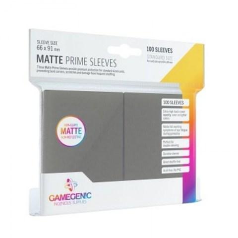 Протектори за карти Gamegenic Matte Prime Sleeves Dark Gray 66x91mm (100 броя, матови, тъмно сиви, плътни) в LCG, 63.5x88 мм)
