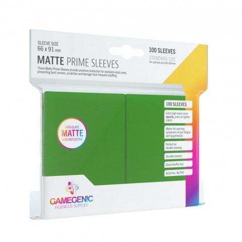 Протектори за карти Gamegenic Matte Prime Sleeves Green 66x91mm (100 броя, матови, зелени, плътни) в LCG, 63.5x88 мм)