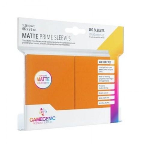 Протектори за карти Gamegenic Matte Prime Sleeves Orange 66x91mm (100 броя, матови, оранжеви, плътни) в LCG, 63.5x88 мм)