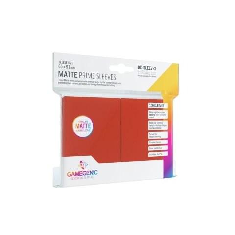 Протектори за карти Gamegenic Matte Prime Sleeves Red 66x91mm (100 броя, матови, червени, плътни) в LCG, 63.5x88 мм)