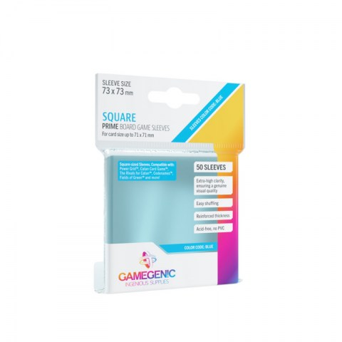 Протектори за карти Gamegenic Prime SquareSleeves 73x73mm (50 броя, за настолни игри, прозрачни, плътни) в Протектори