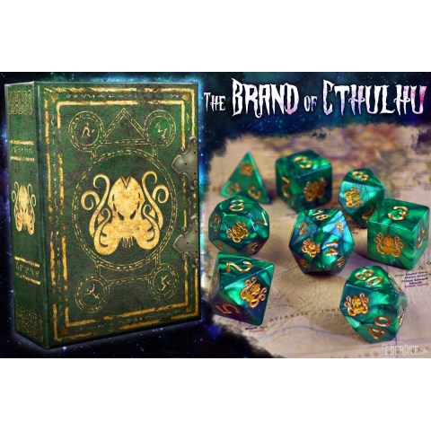 Elder Dice: Brand of Cthulhu - Drowned Green Polyhedral Set in D&D Dice Sets