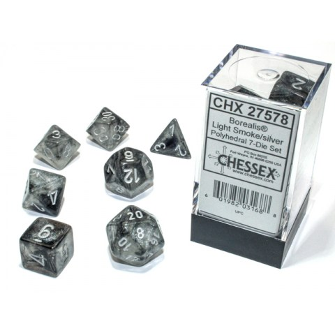 Polyhedral 7-Dice Set: Chessex Luminary Borealis Light Smoke & Silver (Glowing/Sparkle) in D&D Dice Sets