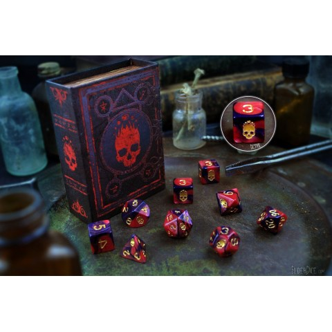 Elder Dice: Mark of the Necronomicon - Red and Inky Black Polyhedral Set in D&D Dice Sets