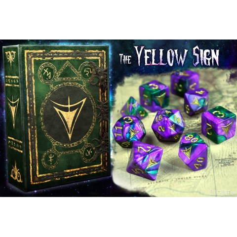 Elder Dice: Yellow Sign Of Hastur - Purple and Green Masked Polyhedral Set in D&D Dice Sets