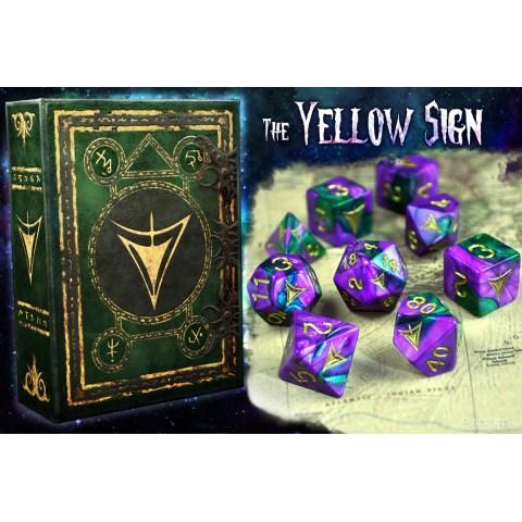 Комплект D&D зарове: Elder Dice Yellow Sign Of Hastur - Purple and Green Masked Polyhedral Set в D&D и други RPG / D&D Зарове