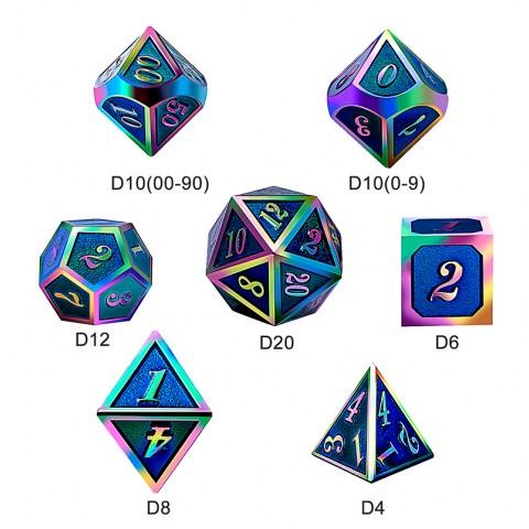 Комплект D&D зарове: Metal & Enamel 7 Dice Set Aquamarine Iridescence в D&D и други RPG / D&D Зарове