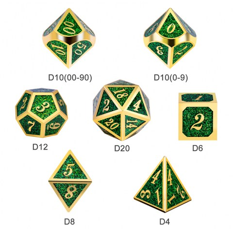 Комплект D&D зарове: Metal & Enamel 7 Dice Set Green Glitter в D&D и други RPG / D&D Зарове