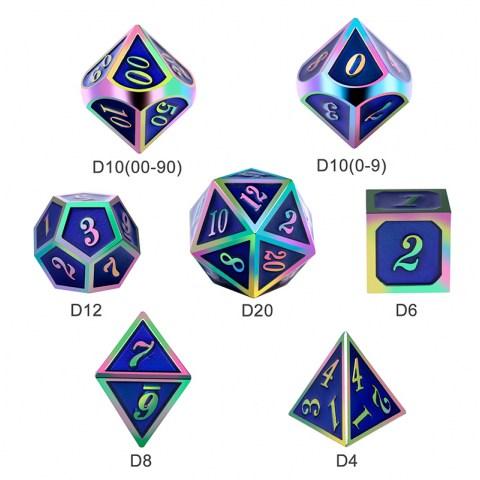 Комплект D&D зарове: Metal & Enamel 7 Dice Set Purple Iridescence в D&D и други RPG / D&D Зарове