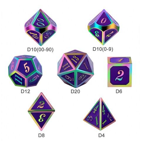 Metal & Enamel 7 Dice Set: Royal Purple Iridescence in D&D Dice Sets