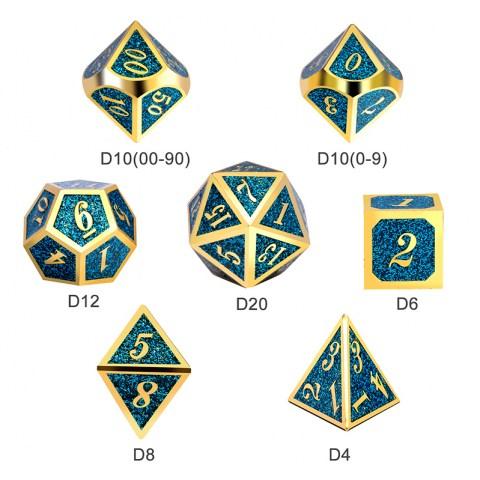 Комплект D&D зарове: Metal & Enamel 7 Dice Set Teal Glitter в D&D и други RPG / D&D Зарове