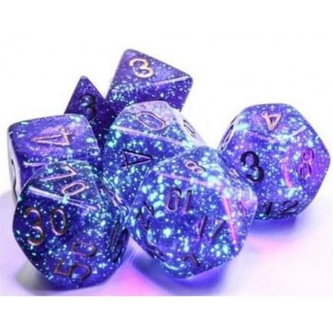 Polyhedral 7-Dice Set: Chessex Luminary Borealis Royal Purple & Gold (Glowing/Sparkle) в Зарове за игри