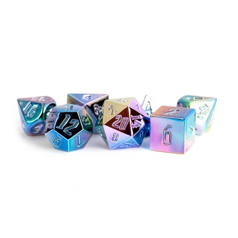 Polyhedral 7-Die Set: Metallic Dice Games - Aluminum Plated Acrylic Rainbow Aegis Uninked in D&D Dice Sets