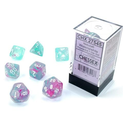 D&D Dice Set: Chessex Luminary Nebula Wisteria & White (Glowing/Sparkle) in Dice sets