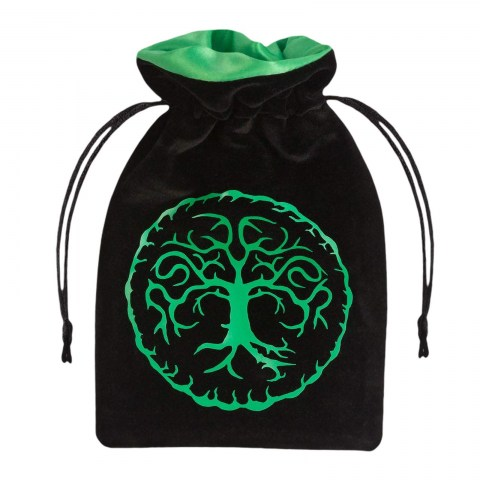 """Q- Workshop: Velour Dice Bag - Forest Green & Black 4x6"""" (10*15cm) in Other accessories"""
